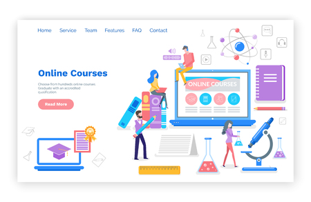 Online courses people learning subjects in internet vector. Students with certificate, busy reading and reviewing material for exams. Microscope and book. Website webpage template landing page in flat 写真素材 - 116764637