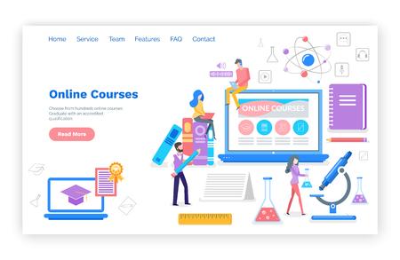 Online-Kurse, die Themen im Internet-Vektor lernen. Studenten mit Zertifikat, fleißiges Lesen und Überprüfen von Material für Prüfungen. Mikroskop und Buch. Website-Webseitenvorlage-Landingpage in flach