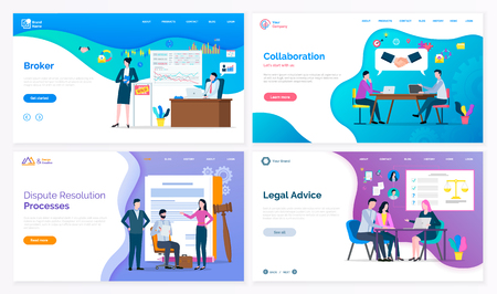 Broker and collaboration, dispute resolution processes and legal advice vector. Lawyer and judicial workers, graphics and laws on presentation board. Website or webpage template, landing page in flat Stockfoto - 125301538
