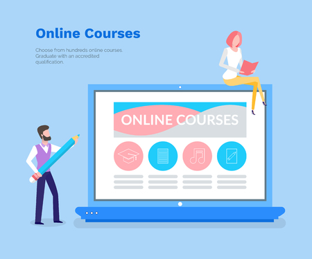 Online courses vector, studying with help of laptop PC and modern devices. Woman and man learning new materials from website. Computer and info page
