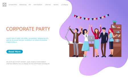 Corporate party, coworkers web page template with business people celebrating holidays together, vector online poster, workers in office having fun. Website, landing page in flat