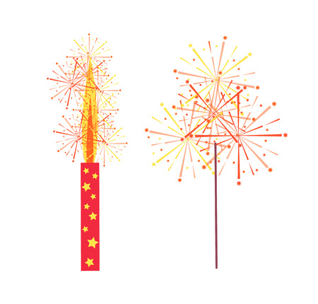 Fireworks and sparkler vector isolated icons. Burning pyrotechny crackers in flat style, realistic cracker holiday celebration items, pyrotechnic equipment
