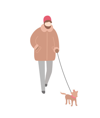 Woman wearing warm winter clothes walking dog on leash vector. Person spending time outdoors with pet, canine with collar running toy canine doggy