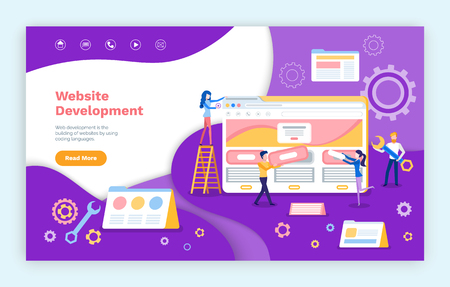 Website development, programmers working on web pages vector. Coding and increasing site productivity, programming of computers internet capacity. Webpage template, landing page in flat Illustration