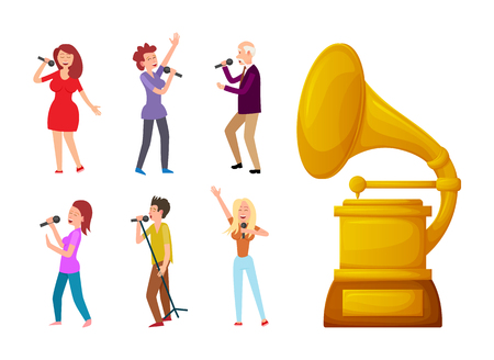 Gramophone gold vector, prize sign for best song and singers. Award and people with microphone singing, performance of senior man and young woman Illustration
