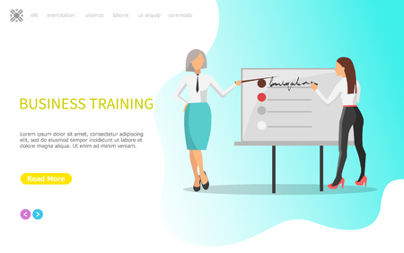 Business training, whiteboard with infographics vector. Presentation of people working at office, innovative ideas and solution of problems, teamwork. Website or webpage template, landing page in flat