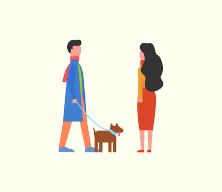 People walking dog on leash, couple and domestic pet vector. Happy man and woman strolling together with canine with collar. Animal with fur Stock Illustratie