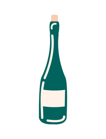 Bottle of wine without label vector isolated icon. Champagne or winery product alcohol drink package made of green glass, wooden cork. Unopened holiday beverage