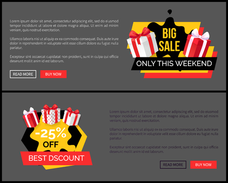 Shopping sale labels and presents, stickers on landing page. Promo price web site templates with advertising labels and gifts packed in wrapping paper