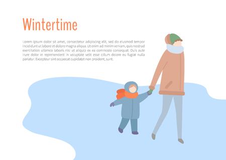 Wintertime mother and kid spending time outdoors vector. People wearing warm clothes to protect from cold weather and winter season, child walking