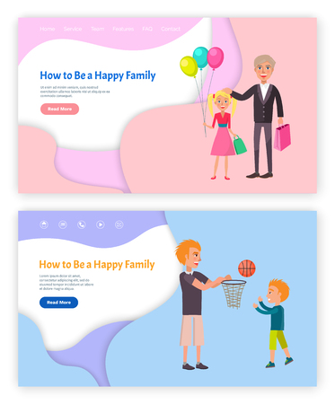 How to be happy family vector, web pages set online site with text sample. Grandparent with granddaughter holding balloons, father and son playing. Website template, landing page in flat