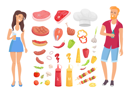 BBQ barbecue meat and vegetables isolated icons vector. Man and woman drinking beverages and smiling. Beef and pork, veggies and sausages, hot dog set