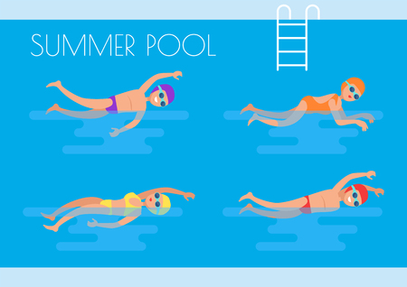 Summer pool professional swimmers wearing goggles special glasses and mask. Swimming suit people in basin training together poster, summertime activities