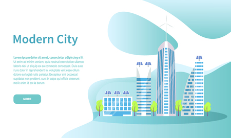 Modern city online web page with tall skyscrapers vector. Downtown with buildings of contemporary design, futuristic architecture of megapolis website