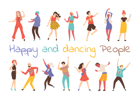 Gelukkig dansende mensen vector geïsoleerde stripfiguren. Mannelijke en vrouwelijke dansers in moderne en retro kleding, vieren feest op verjaardag, huwelijk of jubileum Vector Illustratie