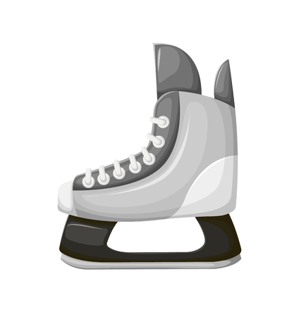Skiing boot with sharp razor vector, sports footwear isolated icon. Leisure and active lifestyle activities, shoes with lace on leather, warming sportswear Illustration