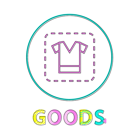 Clothing sign, vector illustration, linear outline. Coupon with t-shirt icon, gadget concept and website design simple line symbol in circle contour