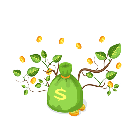 Green money bag with golden coins and branches with leaves, 3D icon of dollars on white. Cash with bucks and sticks, jackpot in big full sack vector