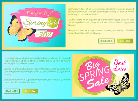 Only today big spring sale labels on posters with butterflies, day-flying moth with wings vector voucher advertisement sticker with tag, add your text Ilustração