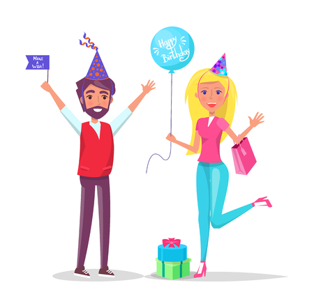 Man and woman in cartoon cone shape hats greeting everyone isolated on backdrop with confetti. Male with flag and woman with balloon on birthday party