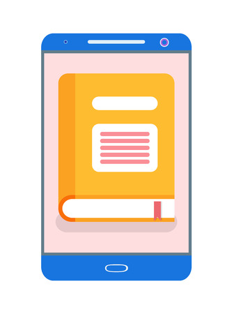 Electronic version of yellow book in gadget. Educational screen of literature in phone. E-book and tablet information, reading and studying vector 일러스트