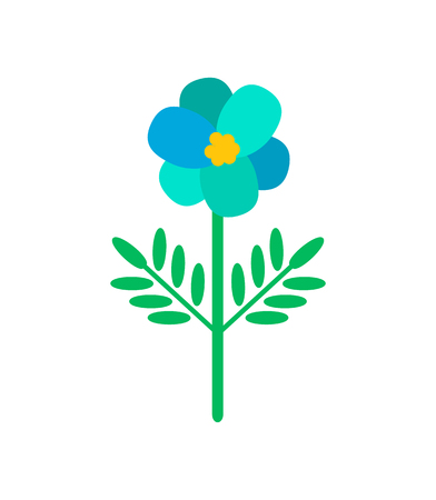 Blue Primula flower in cartoon style. Vector isolated blooming bud with green leaves, botanical icon with color floral element, romantic spring blossom