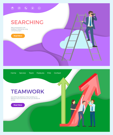 Teamwork of successful team, searching for new business ideas for company vector. Businessman standing on ladder, looking for something in distance. Website or webpage template, landing page in flat