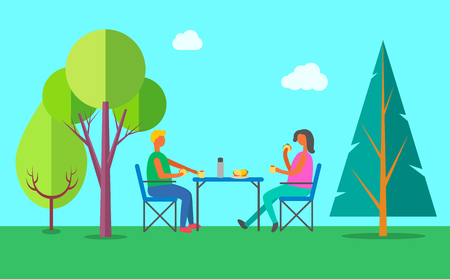 Picnic outdoors vector, summer eating on nature in wood. Couple holding burgers and drinking tea from flusk, fast food on table. Trees and fair weather