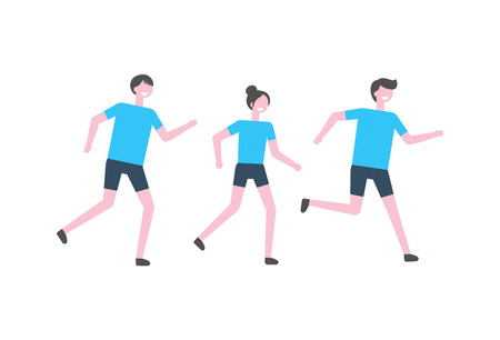 People running marathon vector athletes isolated. Man and women joggers in sportive outfit, sportswear of adult male and female, racing sportsman on competition