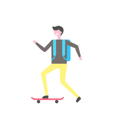 Student skating on skateboard, narrow equipment with two wheels vector isolated icon. Male skater ride on board, smiling cartoon character with backpack Çizim