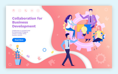 Collaboration business development, team on meeting vector. Lightbulbs growing in pot, workers with ideas and innovative thoughts, solution of problem. Website or webpage template landing page in flat