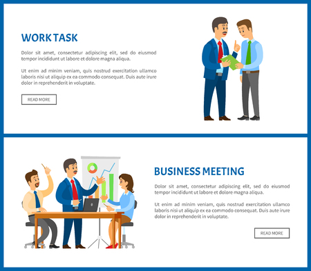 Business meeting and work task, people sitting at table and discussing reports with graphs and charts. Work in team concept, boss and executive worker