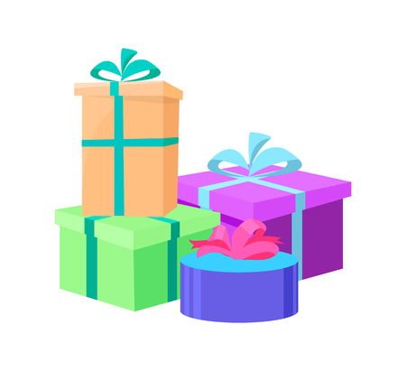 Wrapped gift boxes in decorative paper vector isolated heap of presents. Square and round shape packages decorated by bows, surprises on birthday party and holidays Illustration