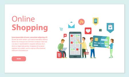 Kunden von Online-Shops, die bei Internet-Vektor bestellen. Personen, die Plastikkreditkarten, Zahlung und Sicherheit der Finanzen, wie und Brieftaschenmünzen tragen Vektorgrafik