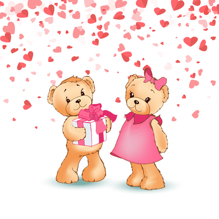 Teddy boy giving gift box to girl, present wrapped wide ribbon, festive card with hearts. Toy character with pink bow, cartoon bear Valentine day vector