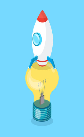 Rocket standing on lightbulb, vertically view of objects, colorful spacecraft with circle window and yellow glass lamp, 3D energy equipment on blue vector. Startup of idea Иллюстрация