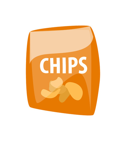 Chips in package vector, fast food unhealthy meal isolated icon. Snack fried vegetables in plastic bag, prepared dish. Traditional eating out, takeaway