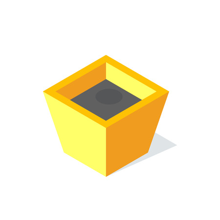 Flower pot with ground vector, container with soil for plant isolated icon. Potted eco natural flora, empty box prepared for plantation. Object for growing
