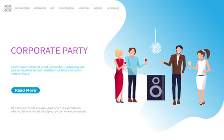 Corporate party, four persons drinking wine and having good time at disco club. Workwomen in evening dress and workmen in trouthers and shirt vector. Website or webpage template, landing page in flat