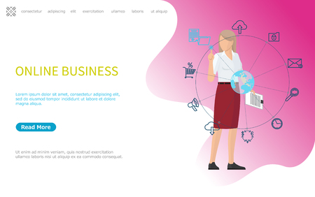 Online business web poster, woman working worldwide using modern technologies. Global mobile banking and networking, cloud storage access and message icons. Website or webpage, landing page flat style