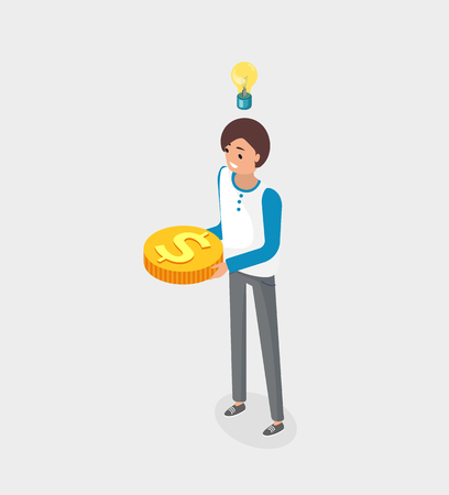 Business idea solution vector, woman with gold dollar coin isolated. Businesslady with financial decision for work, money investment of lady, lightbulb Ilustração
