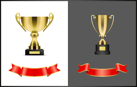 Gold award cups and ribbons for signature, different form trophy for competition reward isolated. Vector prize attributes, golden bows on stand