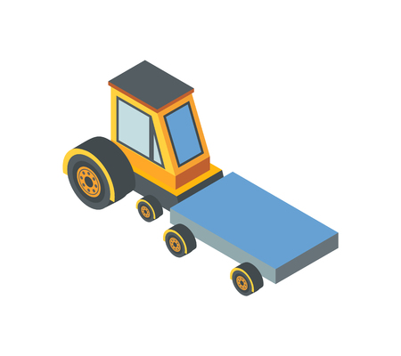 Construction machine transportation device with belt isolated icon vector. Working machinery industrial automated technics. Vehicle industry transport