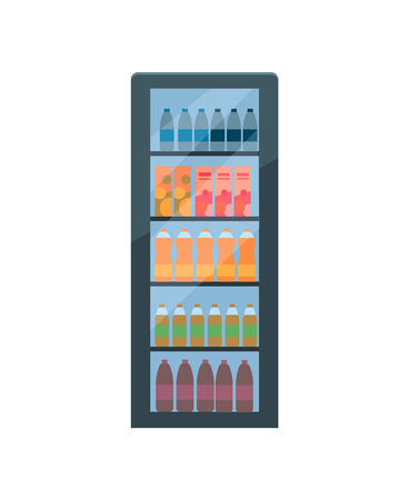 Refrigerator with soda and fizzy drinks vector isolated. Fridge with cooling beverages, mineral water and juice, cinema water cooling device on white