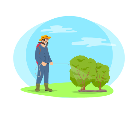 Farmer spray chemicals on shrubs vector cartoon icon