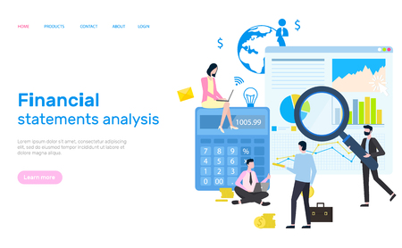 Financial statement analysis, people working, website vector. Workers dealing with finance and assets of firm, magnifying glass and statistics conduction. Webpage template landing page in flat  イラスト・ベクター素材