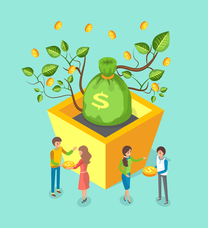Money tree growing from flowerpot vector, plant with leaves. Box with soil for flora giving golden coins, economic growth, people with dollars dealing