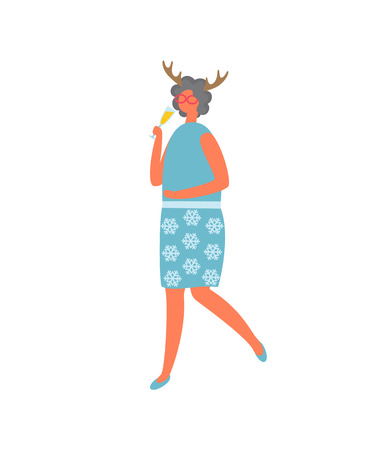 Woman in blue skirt with flowers and blouse, drinking elite champagne vector cartoon character isolated. Female with deer horns accessory, vector icon Illustration