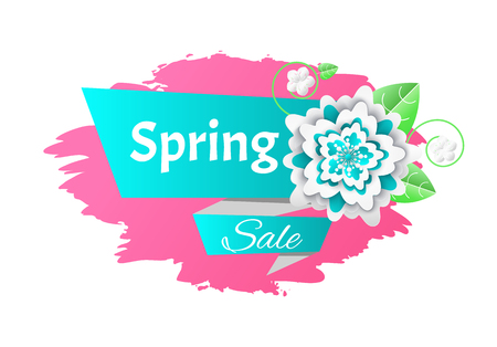 Big spring sale seasonal promotion of goods isolated icon vector. Banner with flowers origami, floral decoration brush style and reduced hot price Illustration