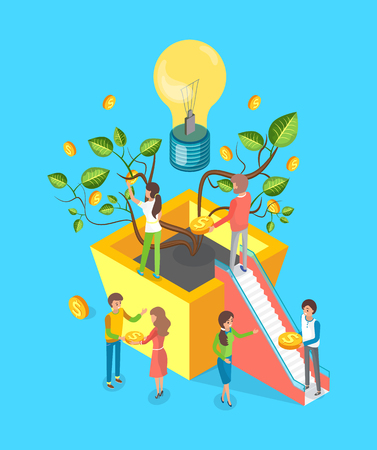 Money tree and light bulb vector, people making deal, crowdfunding.